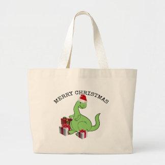 Cute funny  Christmas Santa dinosaur Large Tote Bag