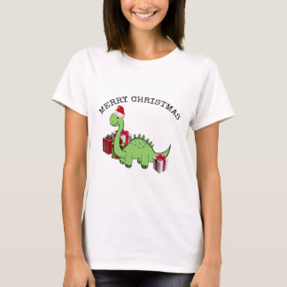 Cute funny  Christmas Santa dinosaur T-Shirt