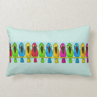 Cute Funny Colorful Birds Together Side by Side Lumbar Cushion