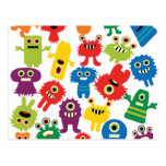 Cute Funny Colorful Monsters Pattern Post Card