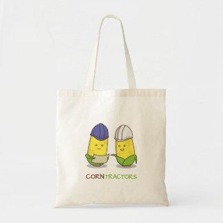 Cute Funny Corn Contractors Punny Humor Budget Tote Bag