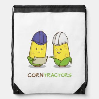 Cute Funny Corn Contractors Punny Humor Cinch Bags