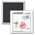 Cute Funny Cured Ham Laftovers Cartoon Square Magnet