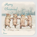 """Cute Funny Dancing Pigs """"Merry Christmas"""" Package Square Sticker"""