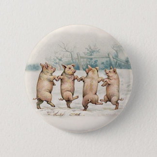 Cute, Funny Dancing Pigs - Vintage Anthropomorphic 6 Cm Round Badge