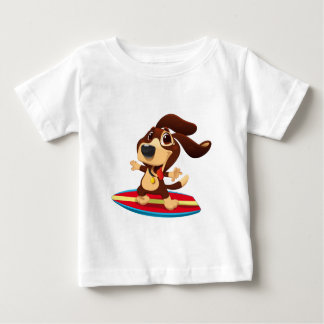 Cute funny dog on a surfboard illustration baby T-Shirt