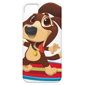 Cute funny dog on a surfboard illustration barely there iPhone 5 case