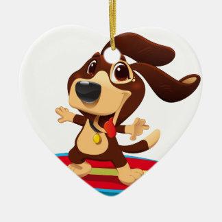 Cute funny dog on a surfboard illustration ceramic heart decoration