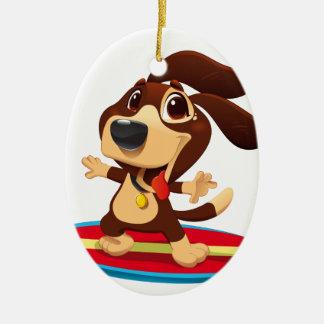 Cute funny dog on a surfboard illustration ceramic oval decoration