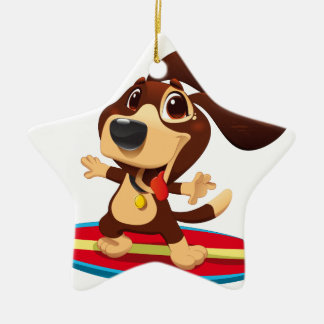Cute funny dog on a surfboard illustration ceramic star decoration