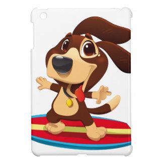 Cute funny dog on a surfboard illustration iPad mini cover