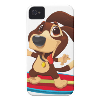 Cute funny dog on a surfboard illustration iPhone 4 cases