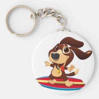 Cute funny dog on a surfboard illustration key ring