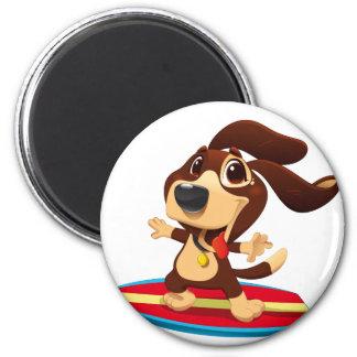 Cute funny dog on a surfboard illustration magnet