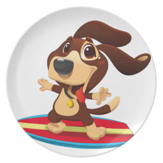 Cute funny dog on a surfboard illustration party plate