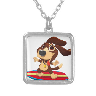 Cute funny dog on a surfboard illustration silver plated necklace