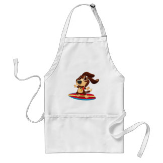 Cute funny dog on a surfboard illustration standard apron