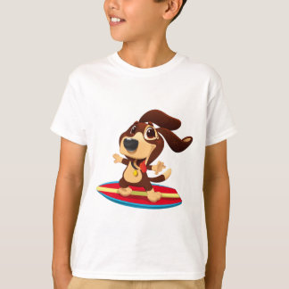 Cute funny dog on a surfboard illustration T-Shirt