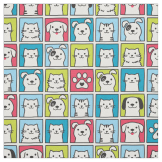 Cute, funny dogs & cats pattern fabric
