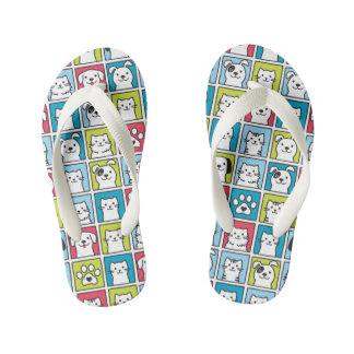 Cute, funny dogs & cats pattern kid's thongs