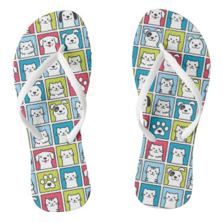 Cute, funny dogs & cats pattern thongs