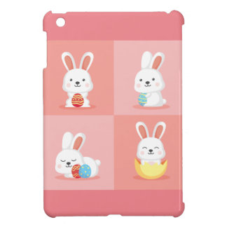 Cute funny Easter bunnies on pink iPad Mini Cover
