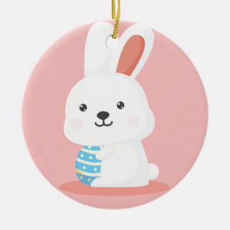 Cute funny Easter bunnies on pink Round Ceramic Decoration