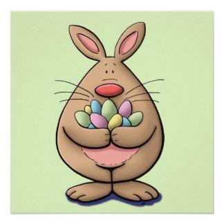 cute & funny easter bunny holding eggs cartoon
