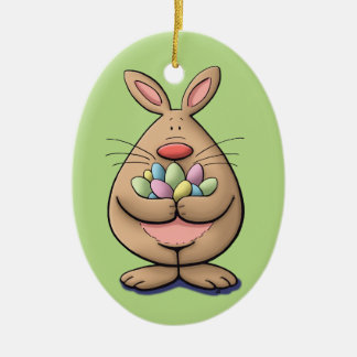 cute & funny easter bunny holding eggs cartoon ceramic ornament