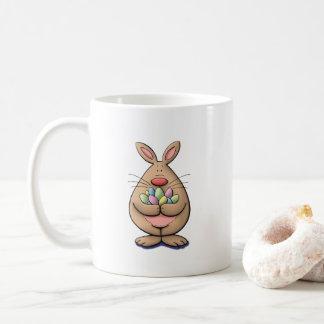 cute & funny easter bunny holding eggs cartoon coffee mug