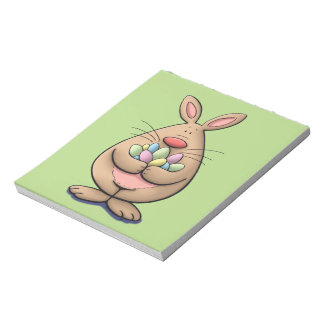 cute & funny easter bunny holding eggs cartoon notepad