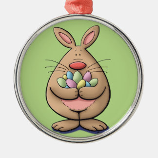 cute & funny easter bunny holding eggs cartoon Silver-Colored round decoration