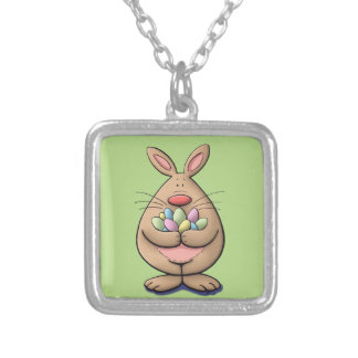 cute & funny easter bunny holding eggs cartoon silver plated necklace