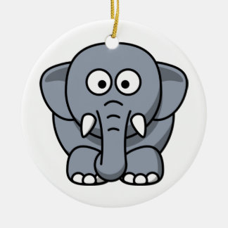 Cute Funny Elephant Round Ceramic Decoration