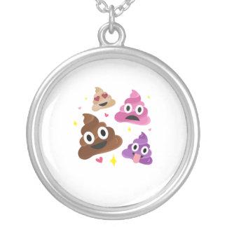 Cute Funny Emoji Pink Bow Cutie Poo - Poop Emoji Silver Plated Necklace