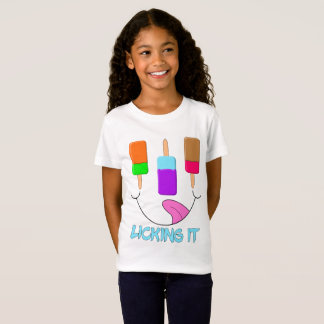 Cute Funny Face Summer Ice Lolly Licking It T-Shirt