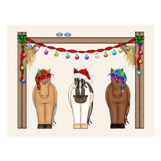 Cute Funny Farm Holiday Horses Christmas Postcard