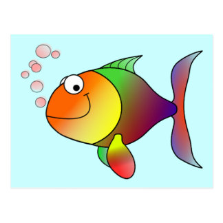 Cute Funny Fish - Colorful Postcard