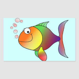 Cute Funny Fish - Colorful Rectangular Sticker