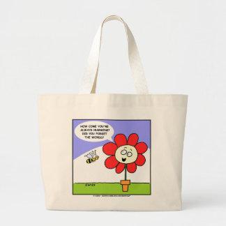 Cute Funny Flower and Bee Totebag Jumbo Tote Bag