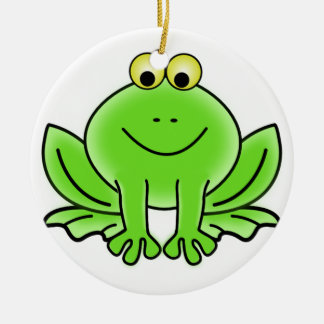 Cute Funny Frog Round Ceramic Decoration