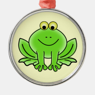 Cute Funny Frog Silver-Colored Round Decoration