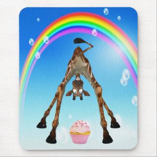 Cute, Funny Giraffe, Cupcake & Rainbow Mousepad