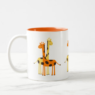 Cute Funny Giraffe Pair Two-Tone Coffee Mug