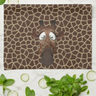 Cute Funny Giraffes Animal Fur Pattern Tea Towel