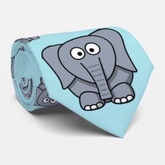 Cute, funny, gray cartoon elephant. Light Blue Tie