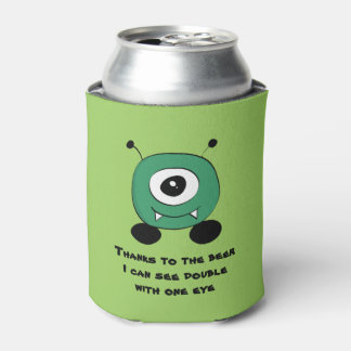 Cute Funny Green Alien Can Cooler