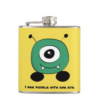 Cute Funny Green Alien Hip Flask