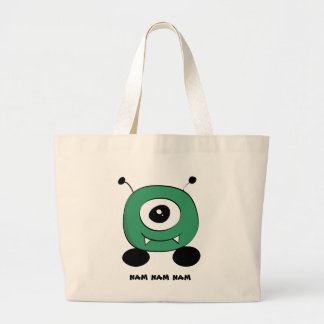 Cute Funny Green Alien Large Tote Bag