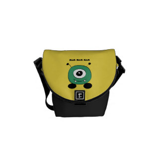 Cute Funny Green Alien Messenger Bags